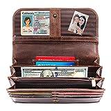 Moonster Wallets for Women – Gorgeous, Genuine Buffalo Leather Wallet for Women – Handmade, Women's Wallets – 2 Zip, 3 Open & 1 Clear Pocket + 9 Card Slots – RFID Blocking Womens Wallet