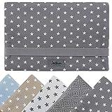 Windeltasche für unterwegs, kleine Wickeltasche für Windeln & Feuchttücher, Windeletui, Wickelmäppchen SmukkeDesign (Stern Grau Mint)