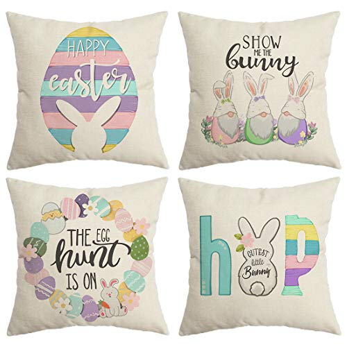 CROWNED BEAUTY Easter Pillow Covers 18x18 Set of 4, Bunny Happy Easter Decorative Throw Pillow Covers Farmhouse Decor for Home CP021-18