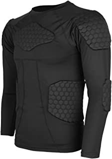 D DOLITY Youth Adult Padded Compression Shirts Long Sleeve Chest Protector Protective Sports Workout Safety T-Shirts for F...