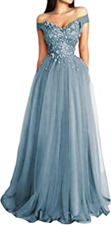 JAEDEN Prom Dresses Long Formal Evening Gowns Off Shoulder Prom Dress Tulle Lace Appliques Evening Party Dress