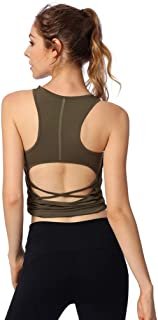 ZYDP Womens Workout Yoga Fitness Sports Racerback Tank Tops Activewear Cloth for Women (Color : Army Green)