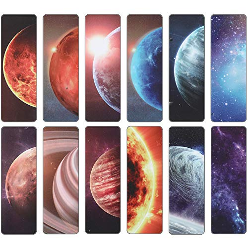 Magnetic Bookmarks Planets and Starry Sky Book Markers Set Magnet Page Markers for Reading School Classroom Library and Home (12 Pieces)