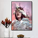 KWzEQ Anime Creativo Alien Girl Lienzo Pintura pájaro Hoja Flor Mariposa Cartel decoración del hogar,Pintura sin Marco,50X75cm
