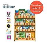 Tidy Books  Estanteria infantil, Librería de pared para niños con abecedario 3D Montessori, Madera, Color natural, 115 x 77 x 7 cm, ECO Friendly, Hecho a mano, La original desde 2004