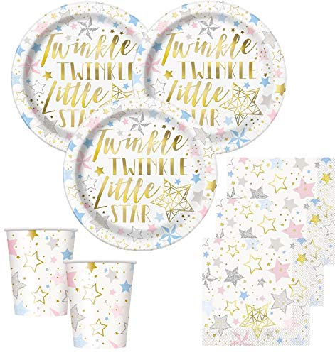 48 Teile Twinkle Twinkle Little Star Party Deko Set foliert für 16 Personen