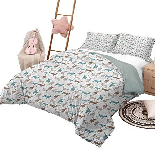 Juego de ropa de cama de 3 piezas, colcha de asta, para todas las estaciones, siluetas de renos con escritos, inspiraciones grunge, tamaño de reina navideño, azul pálido, gris, marrón pálido