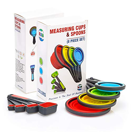 powerful Folding Silicone Measuring Cup and Measuring Spoon – 8psc Silicone Measuring Cup Set and…