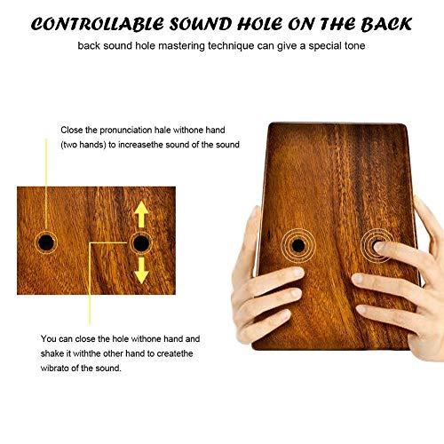 Kalimba, Daumenklavier 17 Keys Kalimba Daumenklavier Mbira Finger Percussion Musik-Instrument Kranz Acacia Holz African Calimba mit Tasche (Color : Wood color)