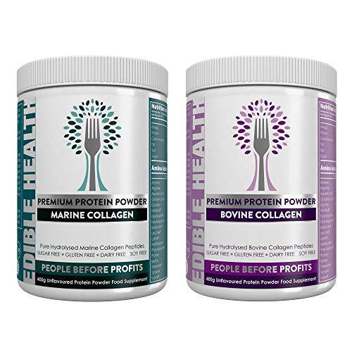 Premium Bovine + Marine Collagen Powder Twin Pack. 13,000mg, 13 x Stronger Than Capsules + Liquid. Fast Acting Hydrolysed Protein Peptides from EU. 18 Amino Acids. Paleo, Keto, Kosher, Halal. 2 x 400g