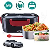 "Janolia Electric Food Heater, Portable Electric Lunch Box Only for Car, 7.87x5.11"" with Stainless Steel Bowl, Food Grade PP Plate, Spoon and Cable for Car"
