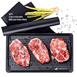 Extra Thick and Large Fast Defrosting Tray Set - Dishwasher Safe Thawing Plate and Drip Tray - Non-stick Coated Thawing Board for Frozen Meat and Food - No Plug Natural Defrost Miracle Thaw Master Mat