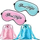 2 Piezas Máscaras de Seda de Dormir Cubierta de Ojos Máscara de Viseras Ajustables Ligeras Antifaz de Dormir de Ojos de Satín de Noche con 2 Bolsas de Almacenamiento (Rosa, Verde)