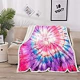 A Nice Night Tie Dye Galaxy Print, Sherpa Fleece Blanket Twin Size Plush Throw Blanket Fuzzy Soft Blanket Microfiber (Pink)