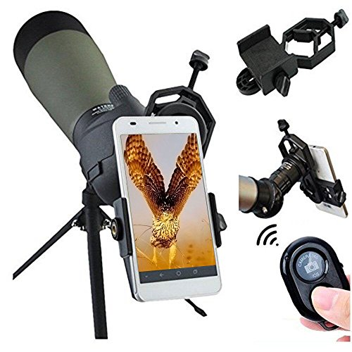 Solomark Spotting Scopes Binocular Telescope Microscope Digiscoping Smartphone Adapter Mount and Wireless Remote Controller Kit for for iPhone Sony Samsung Moto Etc- Smartphone Video Image Recording