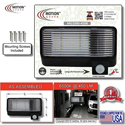 MG1000-450B, American Designed, RV Security, 12 Volt, Exterior Mounted Motion Sensor Bright LED Porch Utility Flood Light, with Battery Monitoring Sensor and EMI Suppression