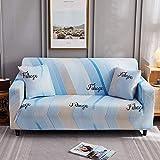 BSZHCT Elastischer Sofabezug Wellenmuster Bedruckte Pattern Sofabezüge Blau 4 Sitzer Antirutsch Stretchhusse Sofahusse Couchhusse mit 2 Zierkissenbezüge,für L Form Sofa Couch Sessel (235-310cm)