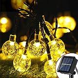 Zodight Catena Luminosa Solare a Sfera di Cristallo 50 LED Stringa Ghiarlanda Luminosa Solare Interna Esterna Impermeabile IP65 Sfera Luminosa Solare per Giardino Patio Terrazza Festa Bianco Caldo