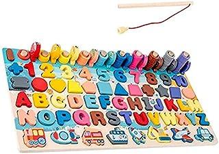 FEEE-ZC Rompecabezas para niños, Juego de Pesca con clasificación de números en Forma de Alfabeto, Juguetes Montessori, Ju...