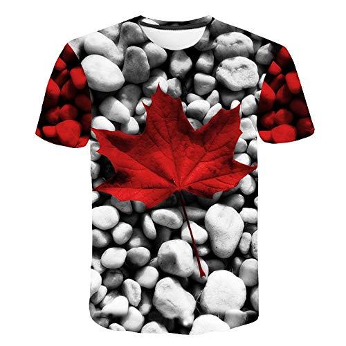 GJCDGPZTX 3D T-Shirt Hojas De Arce Y Piedras.Venta Al por Mayor.Camiseta 3 D Personalizada.Ocio.Ropa De Caballero.Mangas Cortas.Ropa De Verano