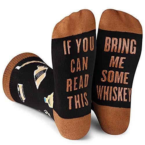 Beetop Wein Socken/Kaffee Socken, Lustige Socken Geschenk für Frauen zum Weihnachten, Valentinstag, Geburtstagsgeschenk für Freundin, If You Can Read This Bring Me Some Whiskey
