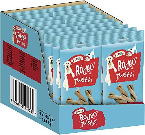 Frolic Hundesnacks Hundeleckerli Rodeo mit Rind, 18 Packungen (18 x 105g)