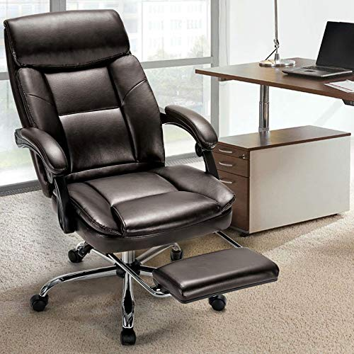 Rimiking Office Chair Wide Seat Desk Chair Metal Base Swivel Rolling High Back PU Leather Computer Chair Adjustable Ergonomic Task Chair Brown