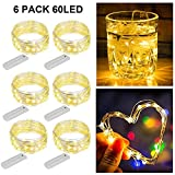 ZNYCYE 6 Pack 10 Feet 60 Led Fairy Lights Battery Operated String Lights with 8 Modes (No Timer) Waterproof Copper Wire...