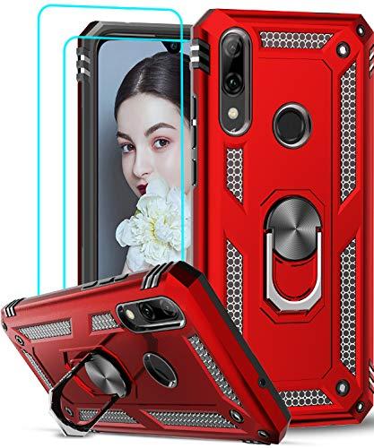 LeYi für Huawei P Smart 2019 Hülle Honor 10 Lite Handyhülle mit Panzerglas Schutzfolie(2 Stück), 360 Grad Ringhalter Cover Bumper TPU Schutzhülle für Case Huawei P Smart 2019 Handy Hüllen Rot