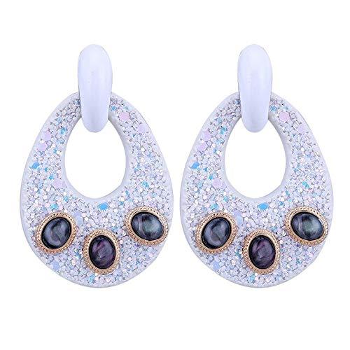 DJMJHG Pendientes de Gota Grandes para Mujer Pendientes de aleación de Zinc a Juego de Cuero Artificial de Moda con PiedraWhite