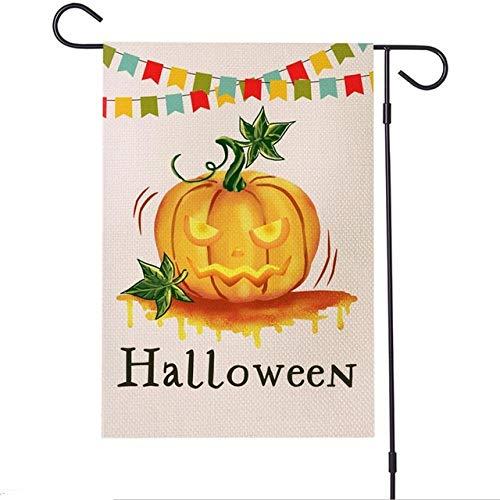 HAWPPWY Halloween 12 x 18 Zoll Halloween Garten Flagge vertikale doppelseitig Bedruckte dekorative Kürbis für Outdoor Home Rasen Yard Flagge, A