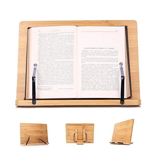 Soporte de Libro para Lectura Atril Ajustable Plegable de Bambú Estantes Escritorio Portátil para Leer Papeles