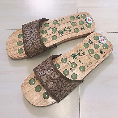 Wenhua Ultraligero cómodo y AntideslizanteZapatillas de Madera para Masaje de pies de Madera, Zapatillas de Ocio para Hombres y Mujeres, Male G_43