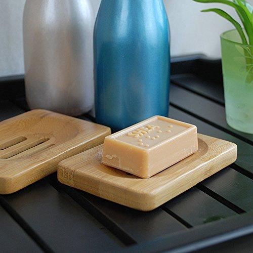 SIRIGOGO - Jabonera para baño, Herramientas de Almacenamiento, jabonera de bambú, Madera de bambú, Bandeja de jabón para baño