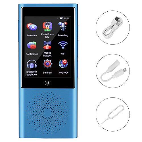 Drahtloses Sprachübersetzergerät, tragbarer AI-Smart-Touchscreen Global Real Time Translator 45, mehrsprachig (1300 W Pixel, Bluetooth, Netzwerkunterstützung, 3G / 4G, WiFi)(Blau)