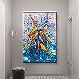 Moderno abstracto estilo nórdico arte de la pared lienzo pintura al óleo pez azul mar cartel decoración del hogar pintura de pared para sala de estar | 60x90cm | sin marco