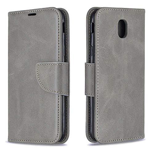 GIMTON Hülle für Galaxy J5 2017, Kratzfestes PU Leder mit Magnetisch Verschluss und Kartenfach für Samsung Galaxy J5 2017, Hochwertige Brieftasche Tasche, Grau