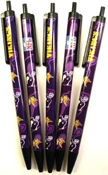 NFL Minnesota Vikings Disposable Black Ink Click Pens 5-Pack
