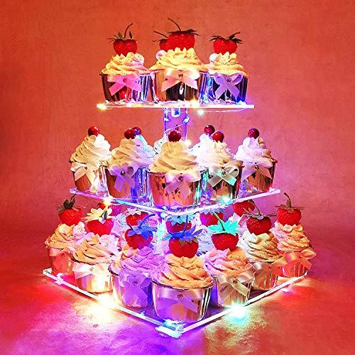HEXNUB Support à Cupcakes en Acrylique 3 étages Qui s'illumine présentoir à gâteaux et Desserts carré Tour avec lumière LED pour cérémonie de Mariage fête d'Anniversaire Prendre Le thé (Multicolore)