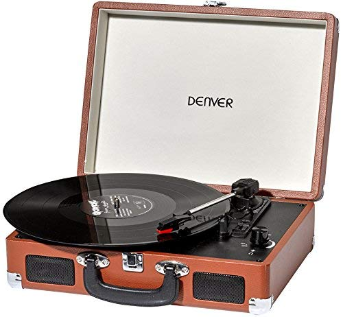 Denver 3 Speed Vinyl Record Player with USB, record to MP3, AUX IN for...