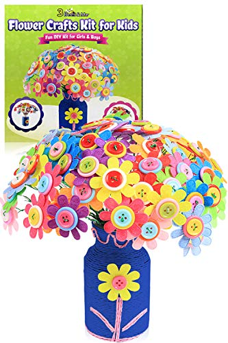 3 Bees & Me Flower Crafts for Girls and Boys Age 4 to 12 - Fun DIY Arts and Crafts Craft Kit for Kids and Tweens