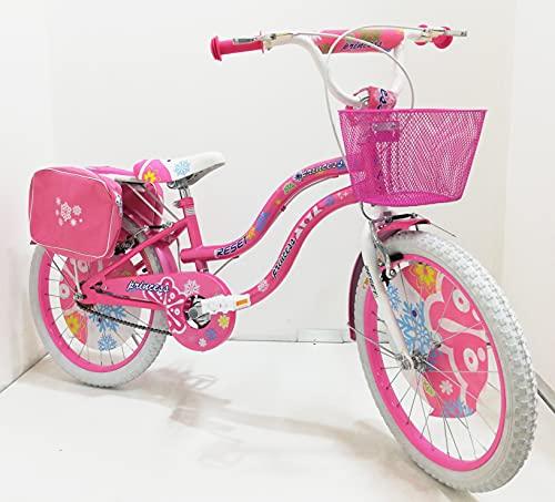 Bicicletta ragazza 20 Pollici Bianca Rosa bambina bici con cavalletto su Sfera per ragazze con Freni V-Brake Azzurro, con paracatena e parafanghi, borse e cestino (Rosa)