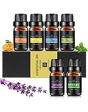 Startpaket för eteriska oljor Aiemok aromaterapioljor presentset 6 x 10 ml för spridare 100 rena eteriska oljor - lavendel, citrongräs, söt apelsin, pepparmynta, te träd, eukalyptus