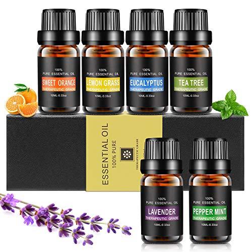 Ätherische Öle Set, Aiemok 6 x 10ml Aromatherapie Duftöl Set, 100% Bio Naturrein Aroma-Öl für, 6 Different Aromas - Lavendel, Pfefferminze, Zitronengras, Süßorange, Eukalyptus, Teebaums (6 Packungen)