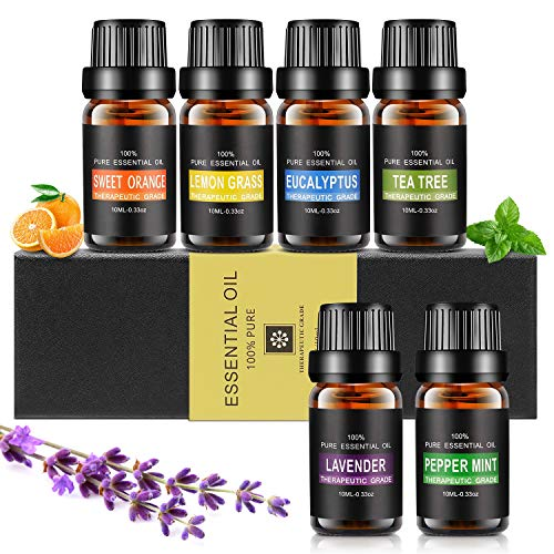 Ätherische Öle Set, Aiemok 6 x 10ml Aromatherapie Duftöl Set, 100% Bio Naturrein Aroma-Öl für, 6 Different Aromas - Lavendel, Pfefferminze, Zitronengras, Süßorange, Eukalyptus, Teebaums (6 Packungen)