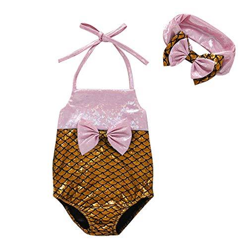 Zomer Baby Meisjes Zwemkleding, HROIJSL Babygirl Een Stuk Zwemmen 6Maand-2Jaar Zonbescherming Zwemmen Kostuum Strand Tankini Badpakken Zwemkleding
