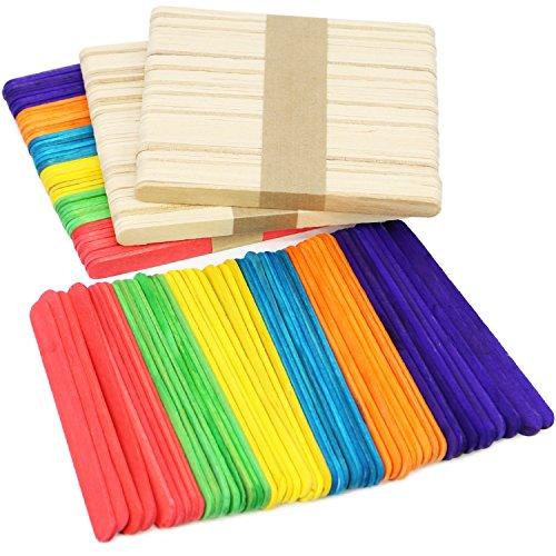 COM-FOUR® houten stokjes in verschillende kleuren, houten stokjes voor handwerk en doe-het-zelf, 11,4 x 1 cm (192 stuks - mix)