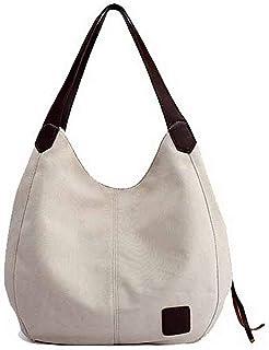 Shoulder Bag Women's Tote Bags Zippers Shopping Canvas Shoulder Bags Handbag Clutch (Color : Beige, Size : One Size)