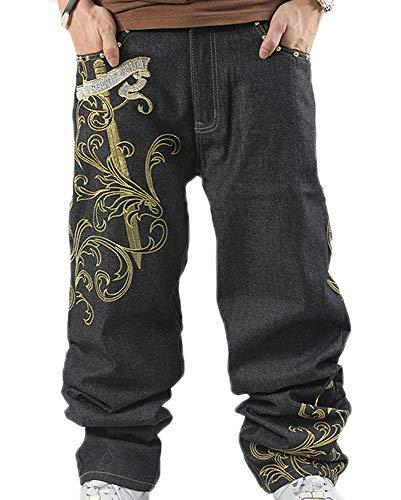Hip Hop Baggy Jeans para Hombre Pantalones Bordados Sueltos Pantalones Vaqueros de Mezclilla Danza Pantalones Rectos