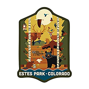 Estes Park Colorado Forest Animals and Pine Trees Geometric Contour 95820  Vinyl Die-Cut Sticker Indoor/Outdoor Small